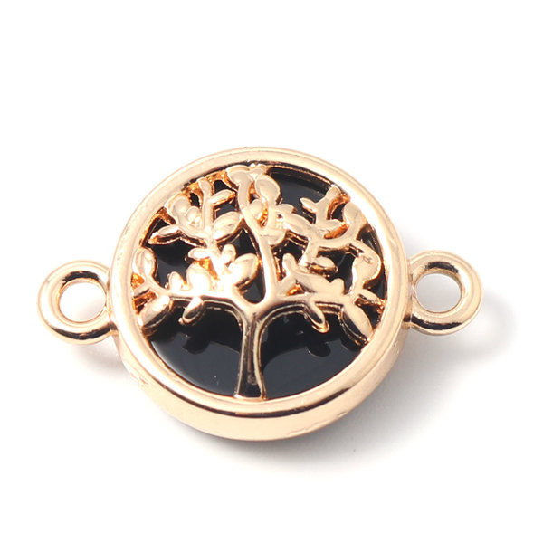 3 pieces Connector Tree Gold Plated Black 20x13mm
