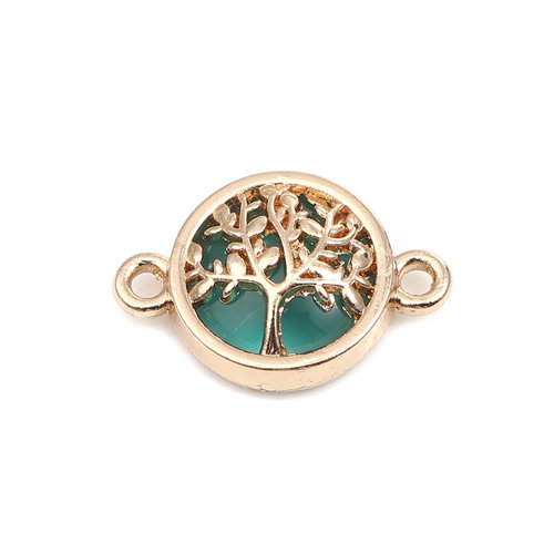3 pieces Connector Tree Gold Plated Green 20x14mm