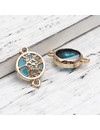 3 pieces Connector Tree Gold Plated Blue 20x14mm