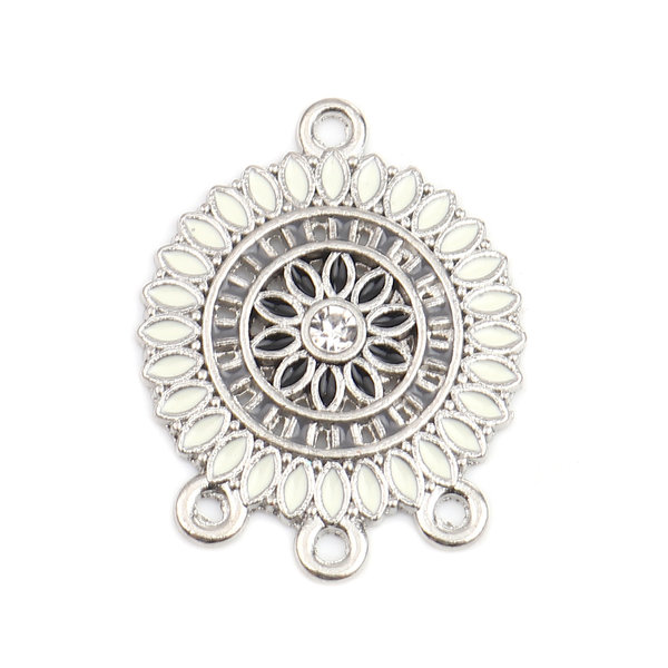 2 pieces Dream Catcher Connector with Rhinestone 28x22mm White