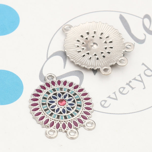 2 pieces Dream Catcher Connector with Rhinestone 28x22mm Multi Color