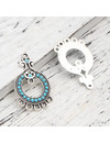 2 pieces Bohemian Connector Round Turquoise 36x22mm