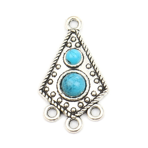 2 pieces Bohemian Connector Rhombus with Turquoise 30x17mm
