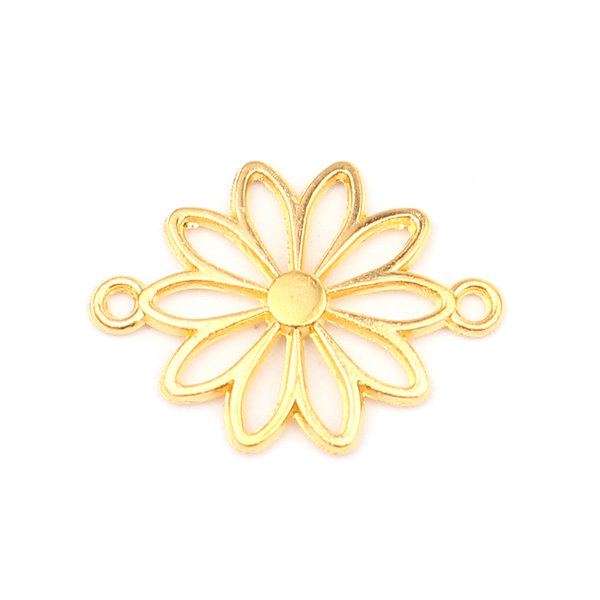 3 pieces Connector Daisy Gold 25x19mm