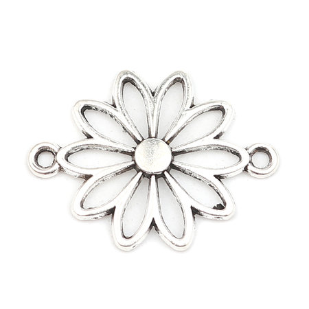 3 pieces Connector Daisy Silver 25x19mm