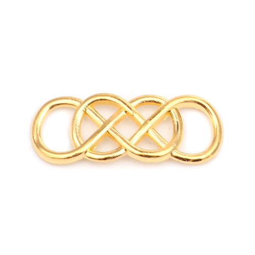 3 pieces Connector Infinity Twist Gold 33x13mm