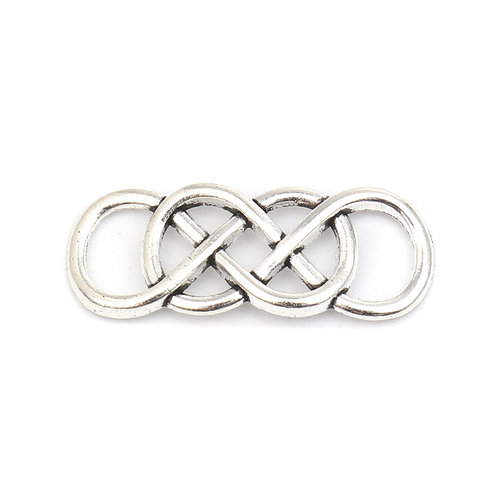 3 pieces Connector Infinity Twist Silver 33x13mm