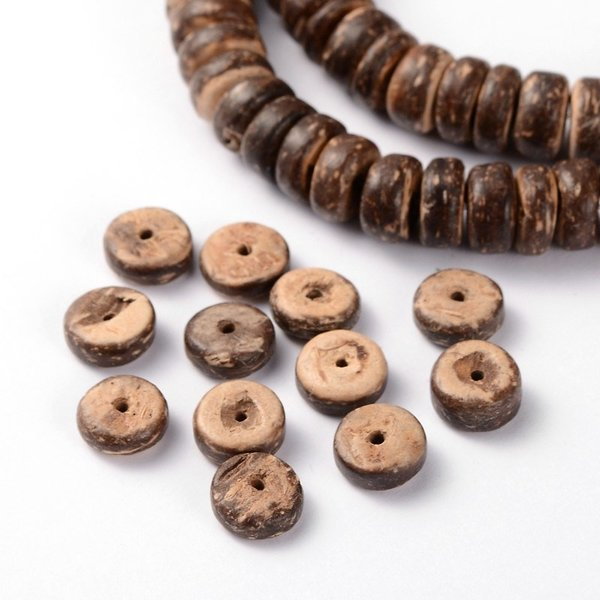 Streng 107 stuks Natuurlijke Rondelle Kokos Kralen Bruin 8x3-5mm