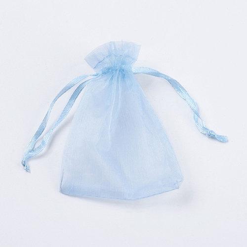100 stuks Organza Zakjes  Hemel Blauw 9x7cm