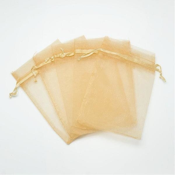 100 pieces Organza Bags Gold 9x7cm