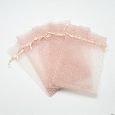 100 pieces Organza Bags Light Pink 9x7cm
