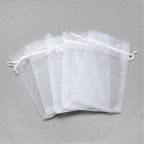 100 pieces Organza Bags White 9x7cm
