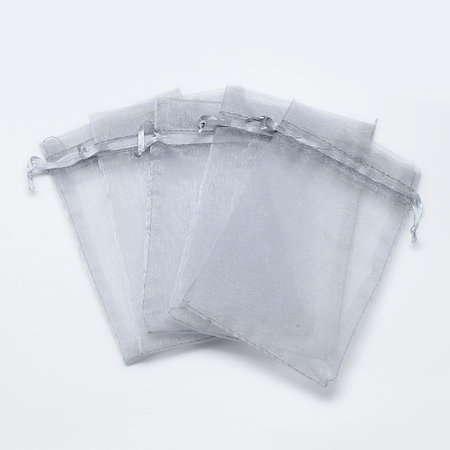 100 pieces Organza Bags Grey 9x7cm