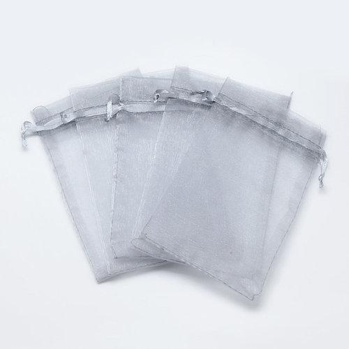 100 pieces Organza Bags Grey 9x7cm
