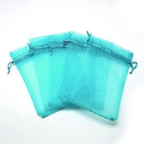 100 stuks Organza Zakjes  Turquoise 9x7cm