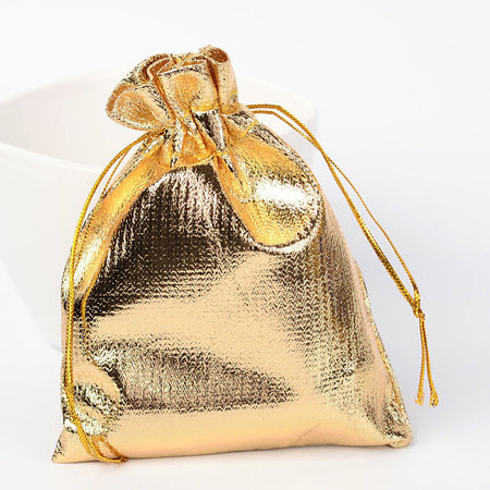 10  pieces Gift Bags Metallic Gold 9x7cm