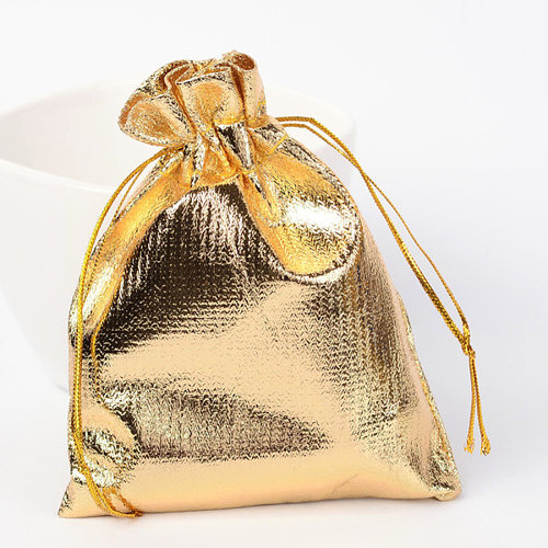 10  pieces Gift Bags Metallic Gold 9x7cm
