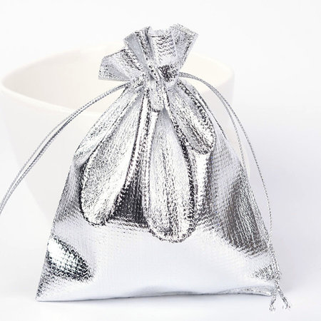 10  pieces Gift Bags Metallic Silver 9x7cm