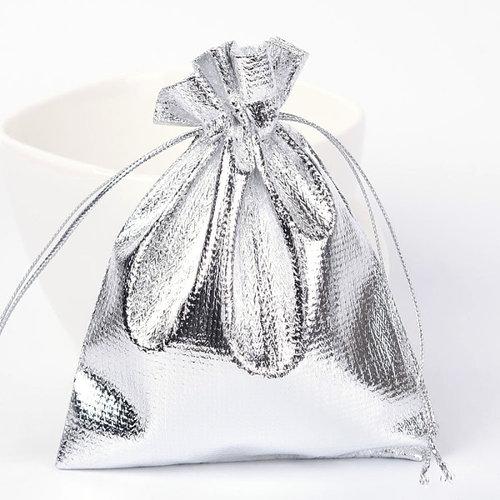 10  pieces Gift Bags Metallic Silver 9x7cm