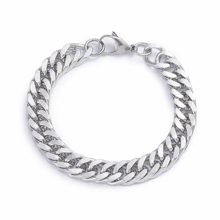 Stainless Steel Chunky Chain 10mm Armband met Sluiting 22cm