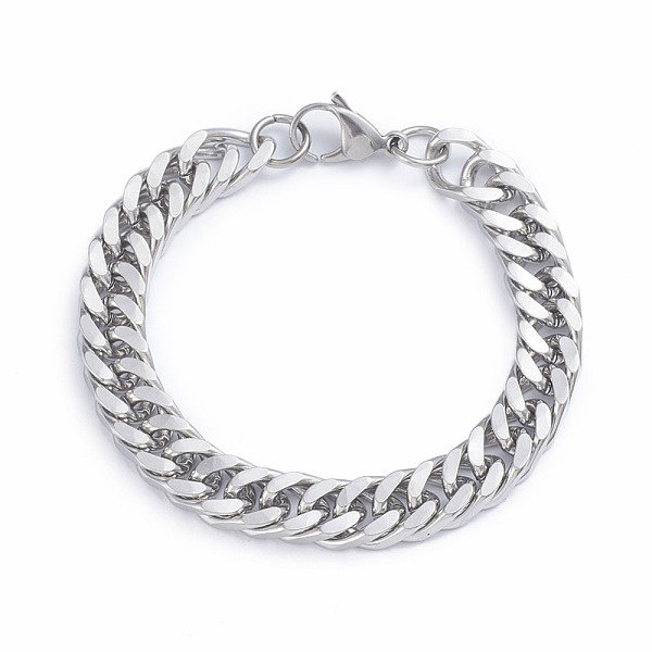 Stainless Steel Chunky Chain 10mm Bracelet with Lobster Clasp Silver 22cm