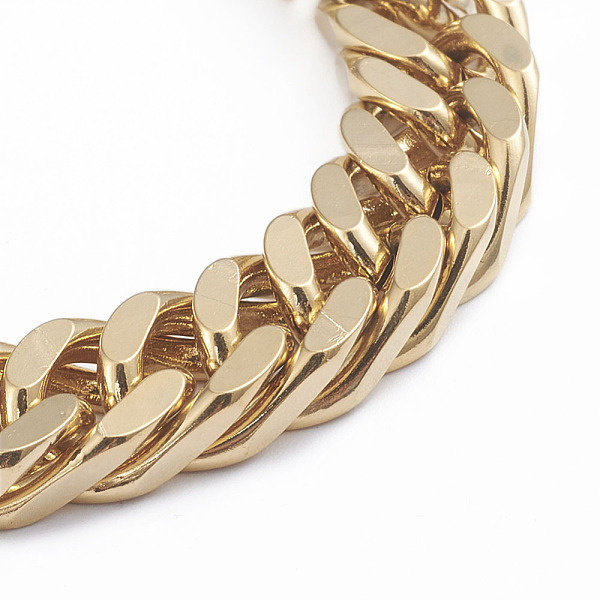 Stainless Steel Chunky Chain 10mm Bracelet with Lobster Clasp Gold 22cm