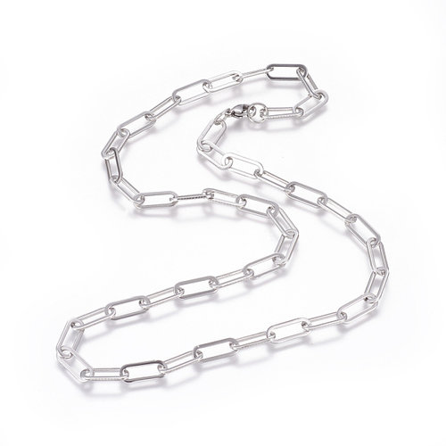 Stainless Steel XL Cable Necklace 16x7mm with Clasp, 58cm