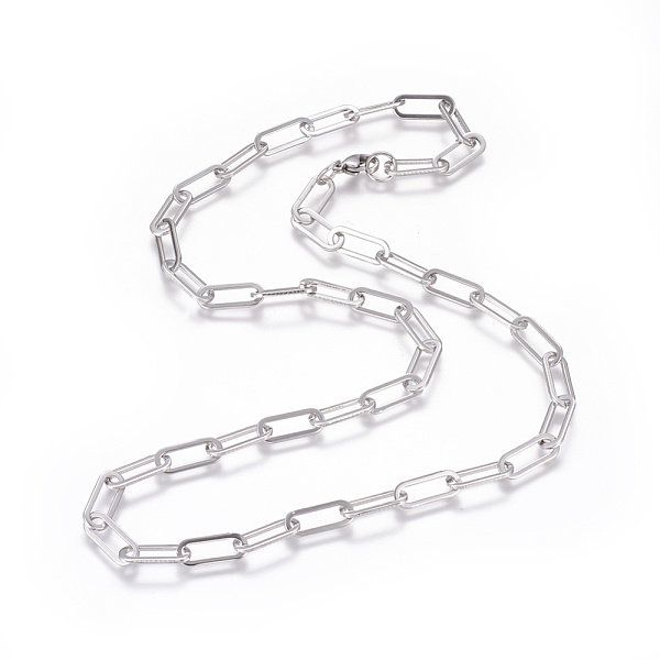 Stainless Steel XL Cable Necklace 16x7mm with Lobster Clasp, 58cm Silver
