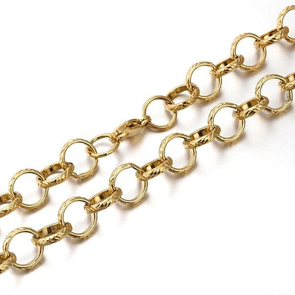 Stainless Steel Round XL Cable Chain 12x3mm with Lobster Clasp Gold, 59cm