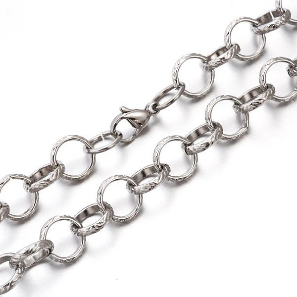 Stainless Steel XL Cable Chain 12x3mm with Lobster Clasp Silver, 59cm