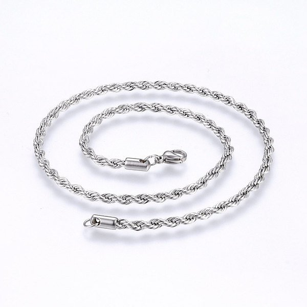 Stainless Steel Rope Chain Necklace 4mm Silver
