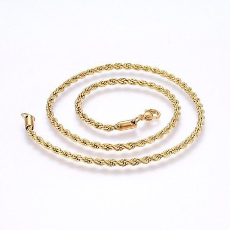 Stainless Steel Rope Chain Necklace 4mm Golden