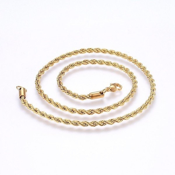 Stainless Steel Rope Chain Ketting 4mm Goud