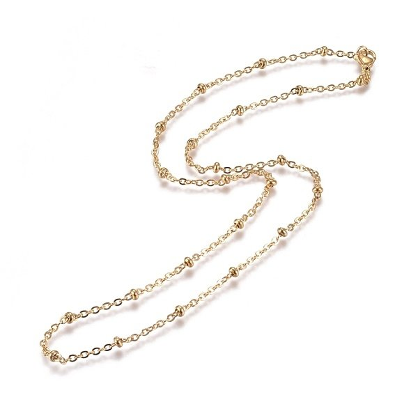 Stainless Steel Cable Chain 2mm with Bead and Clasp, 50cm Gold