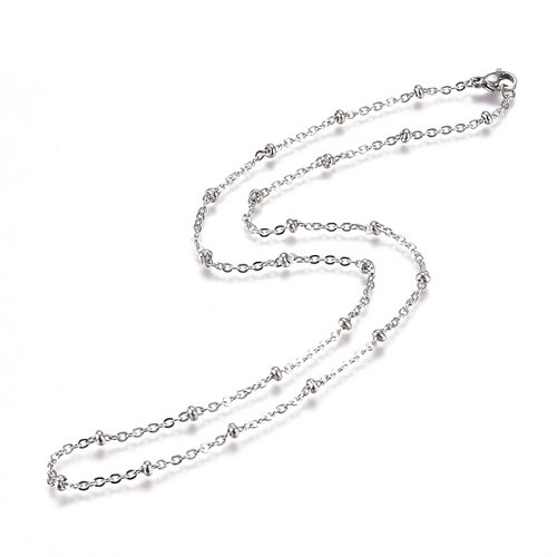 Stainless Steel Cable Chain 2mm with Bead and Clasp, 50cm