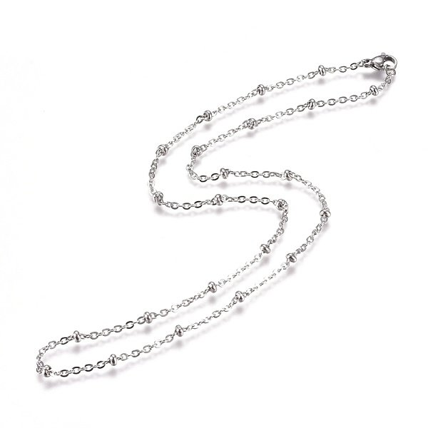 Stainless Steel Cable Chain 2mm with Bead and Clasp, 50cm Silver