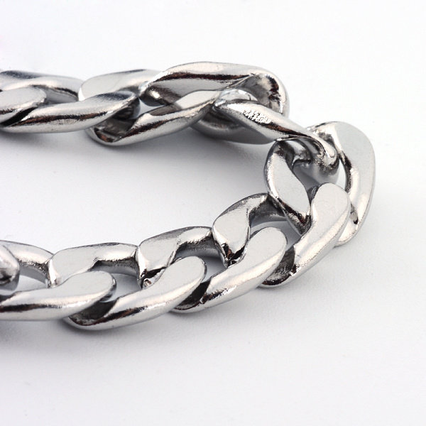 Stainless Steel Broad Cable Necklace with Lobster Clasp Silver 10x7mm, 62cm