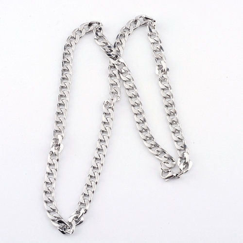 Stainless Steel Broad Cable Necklace with Clasp 10x7mm, 62cm