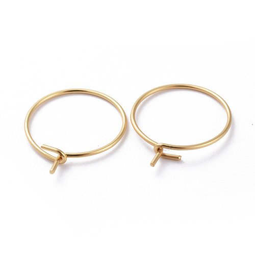 4 pieces Stainless Steel Hoop Earring Gold  15mm