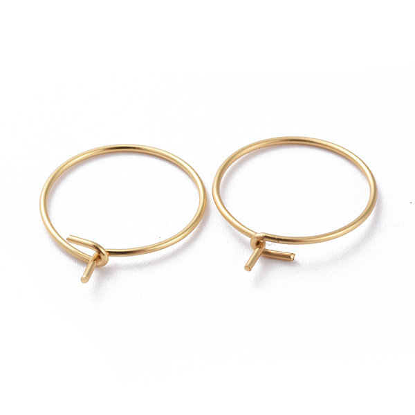 Stainless Steel Hoop Earring Gold  15mm, 4 pieces