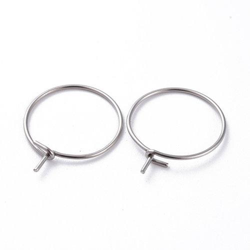 4 pieces Stainless Steel Hoop Earring Silver  15mm