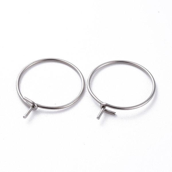 Stainless Steel Hoop Earring Silver  15mm, 4 pieces