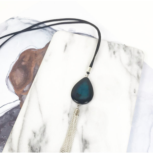 Long Necklace from Suede with Gemstone and Ball Chain Tassel Black Silver