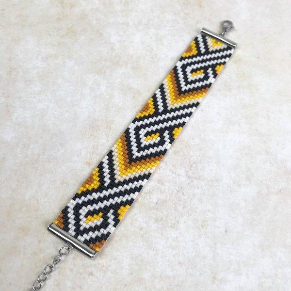 Gele Miyuki Armband Weven incl. ZigZag Patroon