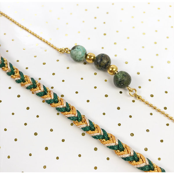 Set of Chique Bracelets in Green and Gold