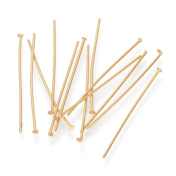 Stainless Steel Headpins Gold Color 5cm, 20 pieces