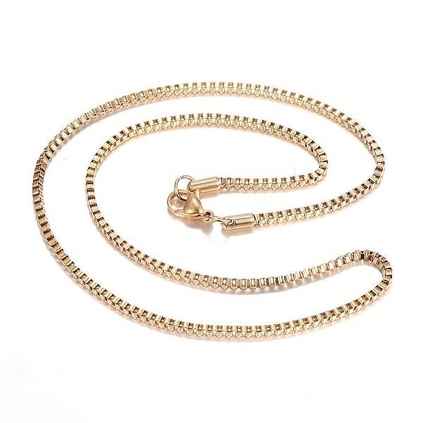 Stainless Steel Box Chain 2mm Necklace Golden 45cm