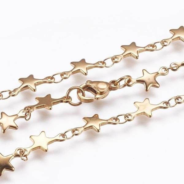 Stainless Steel Necklace with Stars Golden 45cm