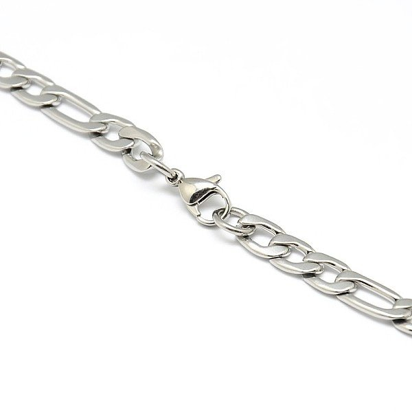 Stainless Steel Broad XL Cable 6x9mm Necklace with Clasp Silver, 55cm