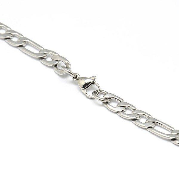Stainless Steel Groffe XL Kabel 6x9mm Ketting met Sluiting Zilver, 55cm